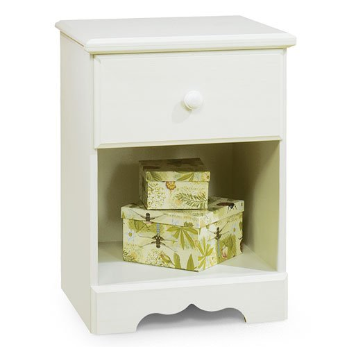 Nightstand white wood with drawer and shelf furniture for White wood nightstand