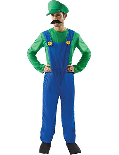 Adult Luigi Super Mario Plumbers Mate Cosplay Halloween Costume Outfit