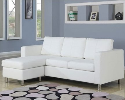 Furniture2go 15068 Reynold White Bycast PU Sectional Sofa - Chaise, Sofa