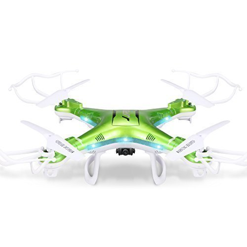 Qs QCopter Drone Quadcopter Green Drones with HD Camera 2X Battery Flight...