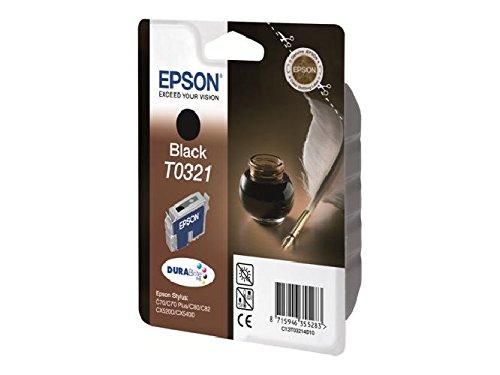 Epson original-t0321-noir-cartouche d'encre pour stylus blister c70, c70, plus c80N, d80, c80WN, c82, c82N, c82WN, cX5100 cX5200, c, encre/t0321 blister) dURABrite/1240/pages