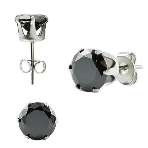 Stainless Steel Ear Studs with Black Round Zirconia 4mm (Pair)