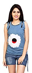 Carrel Brand Imported Denim Fabric Stylish sleevless Top with Flower Printed Sky Blue Colour Women L Size.