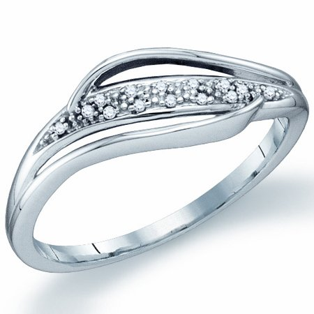 Diamond Promise Ring Fashion Band Womens 10k White Gold (0.04ct), size 8