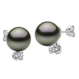 14k White Gold .10tcw Diamond 9-10mm Round Black South Sea Tahitian Cultured Pearl Stud Earrings