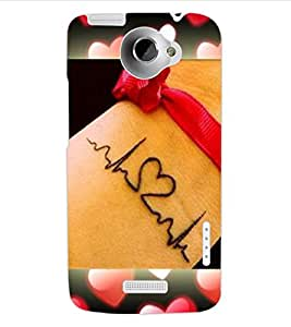 ColourCraft Love Design Back Case Cover for HTC ONE X