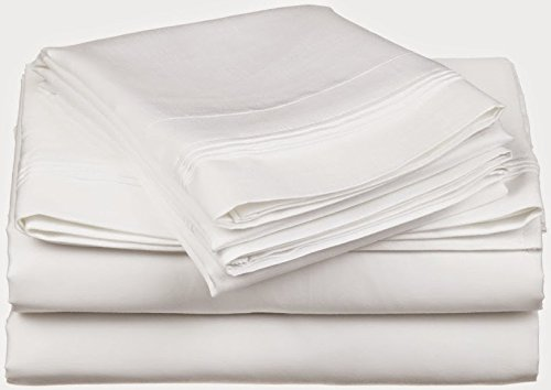 Sathi Bedding 600-Thread-Count Egyptian Cotton Super Soft Extra Deep Pocket 1-Piece Fitted Sheet/Bottom Sheet Full/Double Solid White Fit Up to 16