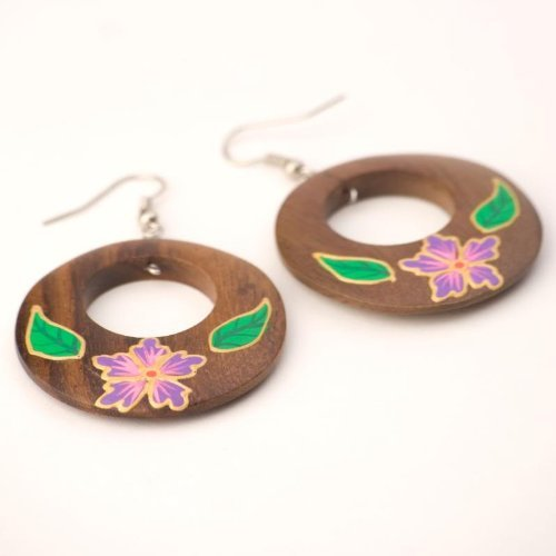 Brown 40 mm violet flower leaf earring coco wood wooden