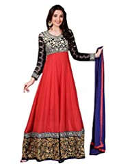 Zohraa Red And Black Faux Georgette Anarkali Suit - Z1723P501-16