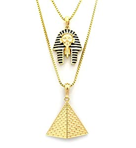 Black Striped Neme Pharaoh Head & Triangle Pyramid Pendant Set w/ 24