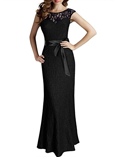 Miusol Women's Elegant Sleeveless Halter Black Lace Bridesmaid Maxi Dress (Medium-Black)