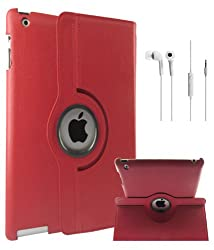 DMG Full 360 Degree Rotating Leather Cover Smart Case for Apple iPad 2/3/4 with White Earphones, DMG Wristband (Red)