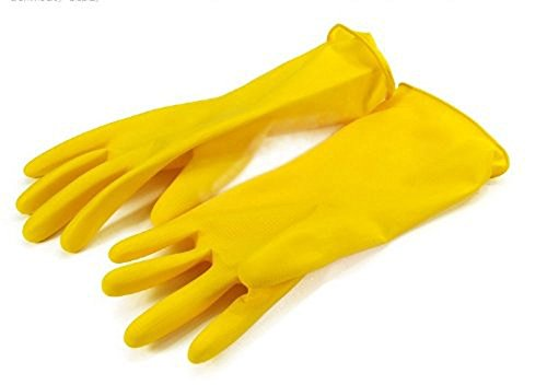 niceeshop(TM) Verdickung Wasserdicht Antirutsch Haushalt Reinigen Lang Gummi Latex Handschuhe(1 Paar,Gelb)