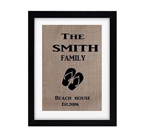 beach-house-personalized-last-name-initial-name-burlap-print-monogram-burlap-art-print-shabby-chic-w