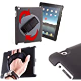 DURAGADGET High Quality Handheld Rotating Holder Case With Adjustable Hand Strap For Apple iPad 2, iPad 3 & iPad 4 With Retina Display (4th Generation) - Perfect For Commuting On The Train!