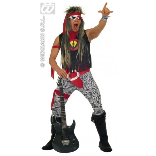 L Mens Rock Star Costume Outfit for 80s Fancy Dress Male UK 42-44 Chest
