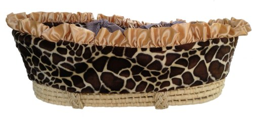 Patricia Ann Designs Satin Giraffe Moses Basket With Check Trim, Gold front-505766