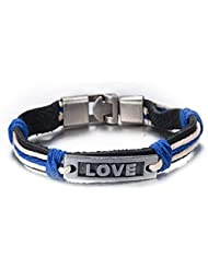 Habors Love Black & Blue Leather And Metal Wrist Band Unisex (JFBD90034)