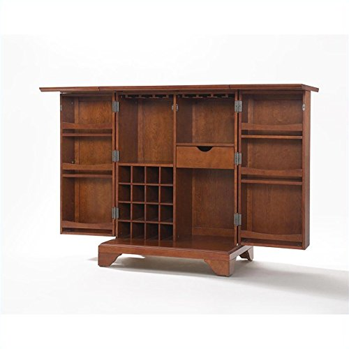 Crosley furniture lafayette expandable bar cabinet in classic cherry finish cabinets storage Home bar furniture amazon