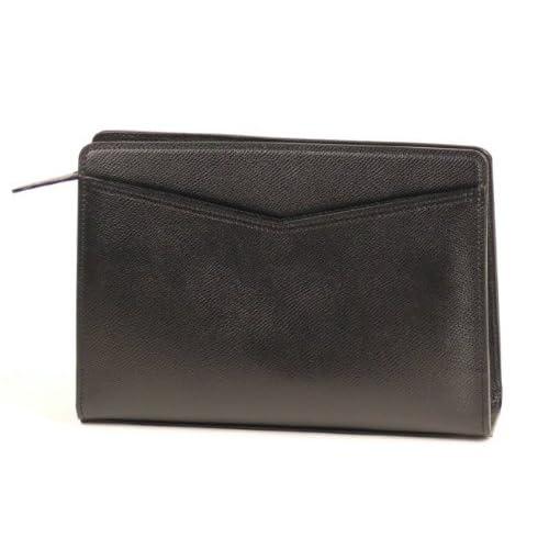 【日本製】本革ビッグポーチ<型押し革>(黒) 大型メンズポーチ 携帯電話(スマートフォン)収納ポケット付き