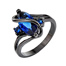 buy Rongxing Jewelry Blue Rings Women'S Cut Zircon Black Gold Filled Engagement Size 10
