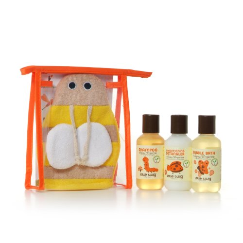 Little Twig Baby Travel Basics All Natural, Hypoallergenic 4 Piece Gift Set with Bumblebee Bath Mitt, Happy Tangerine, 2 Ounce Bottles - 1