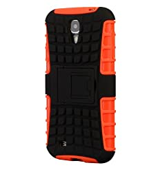 Samsung Galaxy S4 Case, Cruzerlite Dual Layer Armour ShockProof Kickstand case for Samsung Galaxy S4 - Orange