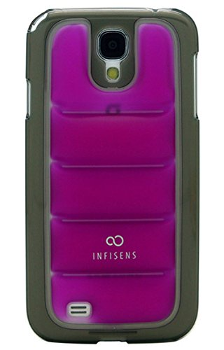 S4 Case, Samsung Galaxy S4 Aqua Soft Bubble Jelly Smartphone Carrying Case, Clear E300, E330 Mobile Cover With Anti-Shock (Purple + Black Bumper)