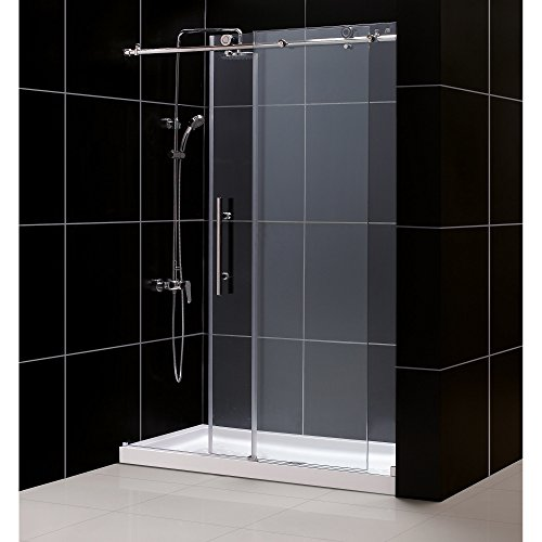 DreamLine Enigma-X 36 in. D x 60 in. W Kit, with Sliding Shower Door in Brushed Stainless Steel and Center Drain White Acrylic Base (Sliding Shower Door Kit compare prices)