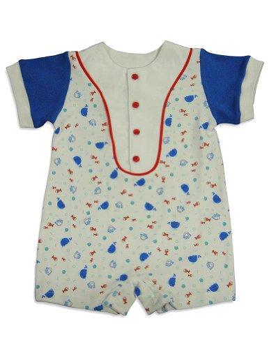 Snopea - Baby Boys Short Sleeve Shortall, White, Royal 24054-24Months