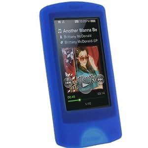iGadgitz Blue Silicone Skin Case Cover for Sony Walkman NWZ-A865 NWZ-A864 NWZ-A866 NWZ-A867 A Series Video MP3 Player 8gb 16gb 32gb 64gb + Screen Protector (NWZ-A865B, NWZ-A865W, NWZ-A864B, NWZ-A864W, NWZ-A866B, NWZ-A867B)