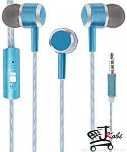 Premium Perfume / Fragrance In Ear Bud Headset Earphones With Mic Compatible For Reliance Jio LYF Wind 5 -Blue
