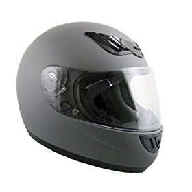 Advanced Hawk Vented Matte Grey Full Face Motorcycle Helmet - Size : Medium