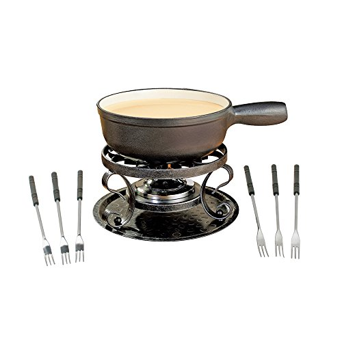 Swissmar Lugano Cheese Fondue, 9-Piece, Black