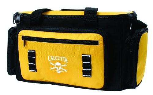 Calcutta Black and Yellow 4 Zip Tackle Bag with 4 Utility Boxes