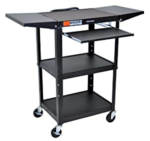 "Adjustable Height Drop Leaf AV Cart - Black (Black) (42""H x 24""W x 18""D)"