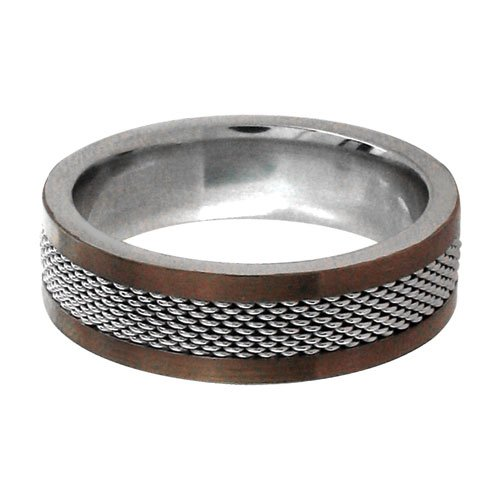 Size 10 - Inox Jewelry Two Toned Mesh Cappuccino 316L Stainless Steel Ring