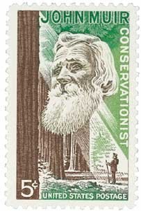 #1245 - 1964 5c John Muir Postage Stamp Numbered Plate Block (4)