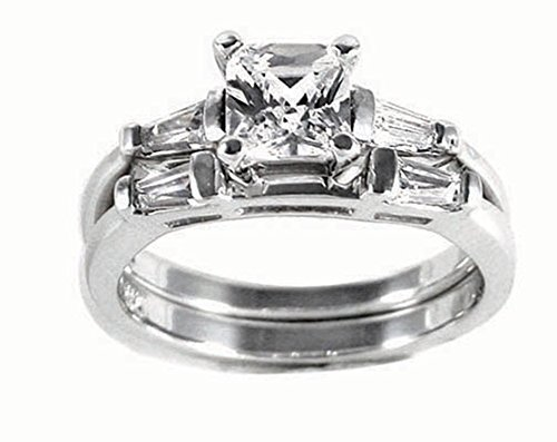 Traditional Princess Cut Cubic Zirconia Engagement Ring Set Size 10
