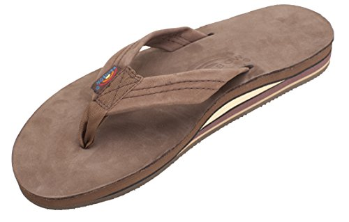 Mens Rainbow Sandals Premier Leather Double Stack Expresso Large (9.5-10.5)
