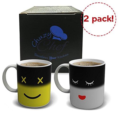 magic-taza-de-cafe-de-la-manana-2-pack-amarillo-blanco-12-oz-calor-sensible-color-y-de-la-cara-cambi
