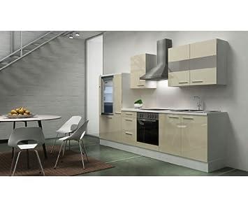 Respekta Kitchen Unit Empty Vanilla 300cm White High-Gloss Worktop White
