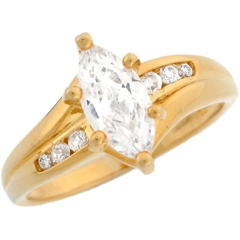 9ct Solid Yellow Gold 1.8ct Marquee CZ Engagement Ladies Ring