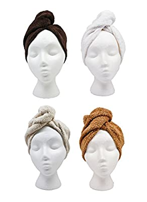 Turbie Twist Hair Towels Cotton (4 Pack) Neutral