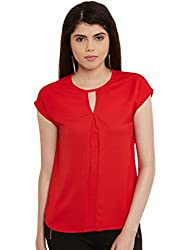 Red Solid Poly Crepe Top