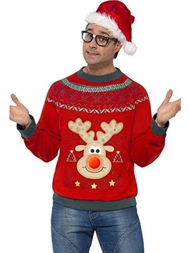 Christmas Jumper With Led Lights Adult Costume (Large)