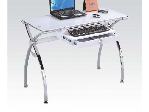 Retro chrome metal and white tempered glass top computer workstation desk with keyboard tray and drawer