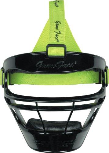 Markwort Game Face Sports Safety Mask (Black with Lime Ponytail Harness, Medium)
