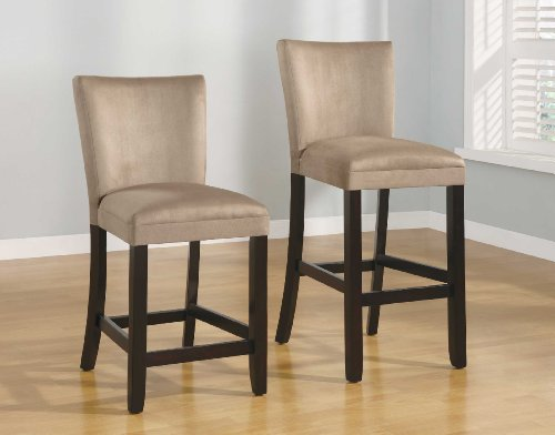 Set Of 2 24 Quot H Counter Height Stools Taupe Microfiber Hot