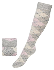 2 Pairs of Thermal Argyle Knee High Socks with Wool